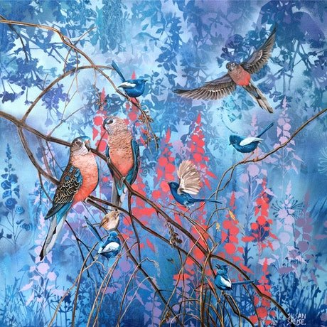 (CreativeWork) Moody Blue - Burke's parrots and White winged wrens by Susan Skuse. Mixed Media. Shop online at Bluethumb.