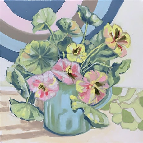 (CreativeWork) Blue Jug and the Winter Nasturtiums (series)  by Alicia Cornwell. Oil Paint. Shop online at Bluethumb.