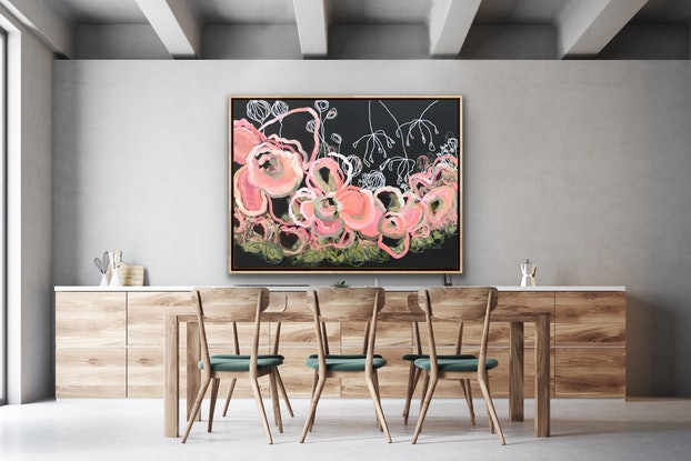 (CreativeWork) Love Is Forever - Flowers Give Happiness - Abstract by Jen Shewring. Acrylic Paint. Shop online at Bluethumb.