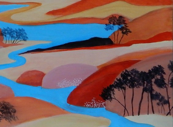 (CreativeWork) Rambling River by Doodie Herman. Acrylic Paint. Shop online at Bluethumb.