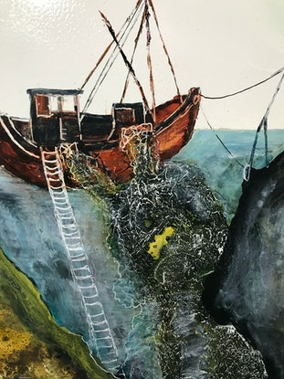 (CreativeWork) The Ladder of Iron by Meg Lewer. Mixed Media. Shop online at Bluethumb.