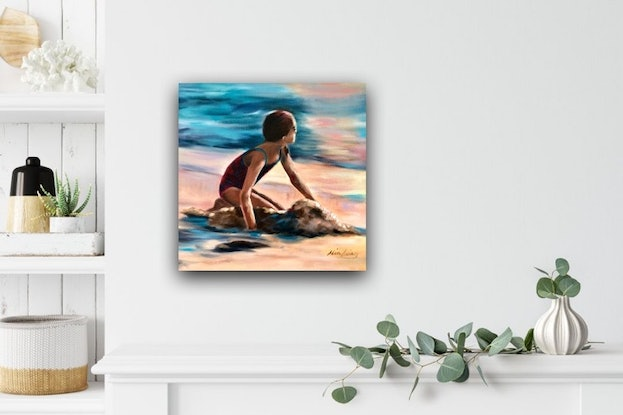 (CreativeWork) Sunset Dreamer - oil on canvas, ready to hang, child playing on beach at sunset.  by Mia Laing. Oil Paint. Shop online at Bluethumb.