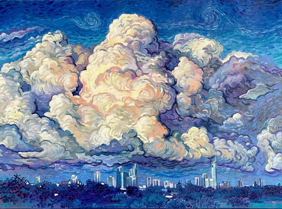(CreativeWork) Clouds over Surfers Paradise by Michael Baker. Oil Paint. Shop online at Bluethumb.