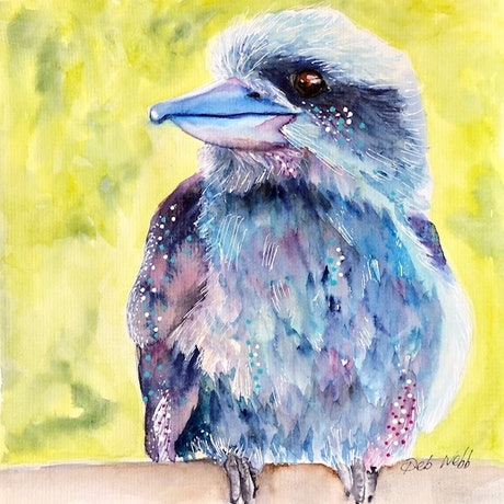 (CreativeWork) Quizzical Kookaburra by Deb Webb. Watercolour Paint. Shop online at Bluethumb.