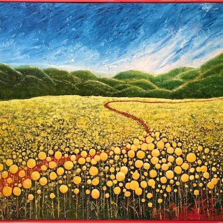 (CreativeWork) BILLY BUTTONS AND THE RED ROAD - framed by Corinne Young. Oil Paint. Shop online at Bluethumb.