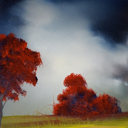 (CreativeWork) Red Trees by Elaine Green. Oil Paint. Shop online at Bluethumb.