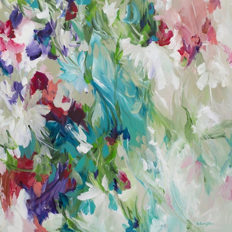 (CreativeWork) Floral Escape by Amber Gittins. Acrylic Paint. Shop online at Bluethumb.