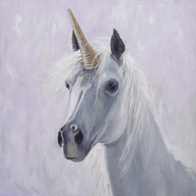 (CreativeWork) Unicorn dreams by Naomi Veitch. Acrylic Paint. Shop online at Bluethumb.