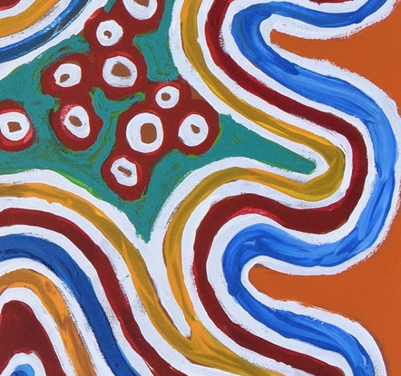 (CreativeWork) Inma (Dancing for Country) 19-3180 by Nelly Patterson. Acrylic. Shop online at Bluethumb.
