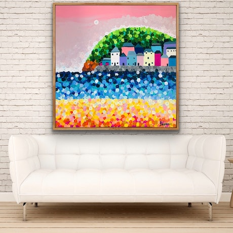 (CreativeWork) On sale The harbour 102x102 framed large textured beach abstract  by Sophie Lawrence. Acrylic Paint. Shop online at Bluethumb.