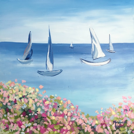 (CreativeWork) Sydney to Hobart by Meredith Howse. Acrylic Paint. Shop online at Bluethumb.