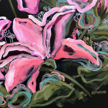 (CreativeWork) Stargazer - Flowers Give Happiness - Abstract by Jen Shewring. Acrylic Paint. Shop online at Bluethumb.