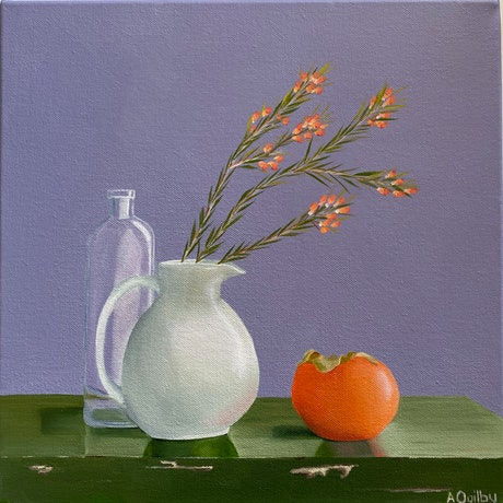 (CreativeWork) Boronia and Persimmon by Amanda Ogilby. Oil Paint. Shop online at Bluethumb.