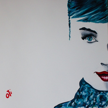 (CreativeWork) Blue Audrey by Olwyn (Oli) Conrau. Oil Paint. Shop online at Bluethumb.