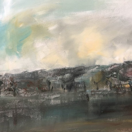 (CreativeWork) Cliffs on the Murray by Tina Barr. Acrylic Paint. Shop online at Bluethumb.