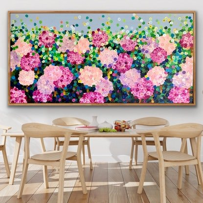 (CreativeWork) Pink Blooming hydrangeas 183x93 framed large Textured  abstract flowers by Sophie Lawrence. Acrylic Paint. Shop online at Bluethumb.