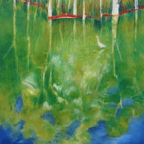 (CreativeWork) White Bird Reflected  by Glenise Clelland. Oil Paint. Shop online at Bluethumb.
