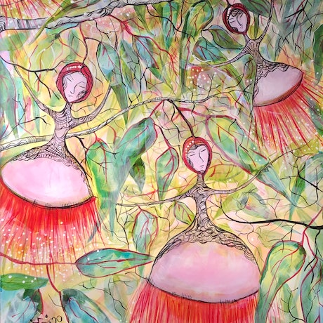 (CreativeWork) Gum-nut Girls by Jenny Mounfield. Acrylic Paint. Shop online at Bluethumb.
