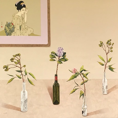 (CreativeWork) Beige Kyoto stillscape by Sue Smith. Acrylic Paint. Shop online at Bluethumb.