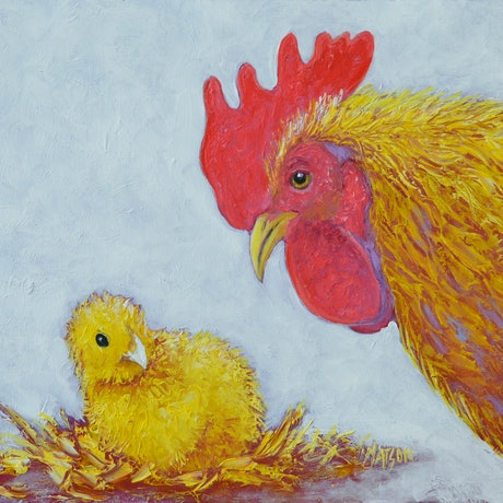 (CreativeWork) I JUST WANT WHAT'S  BEST FOR MY CHICKEN - Framed by Jan Matson. Oil Paint. Shop online at Bluethumb.