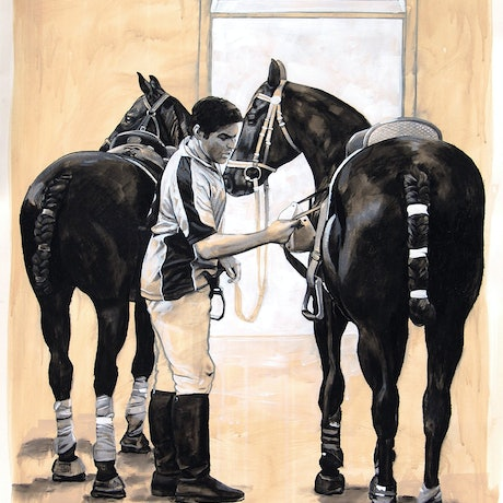 (CreativeWork) Polo Stable by Leslye Cole. Mixed Media. Shop online at Bluethumb.