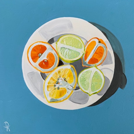 (CreativeWork) Lime, Blood Orange & Grapefruit by Dominika Keller. Acrylic Paint. Shop online at Bluethumb.