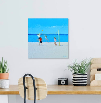 (CreativeWork) BEACH VOLLEYBALL by Jan Matson. Oil Paint. Shop online at Bluethumb.