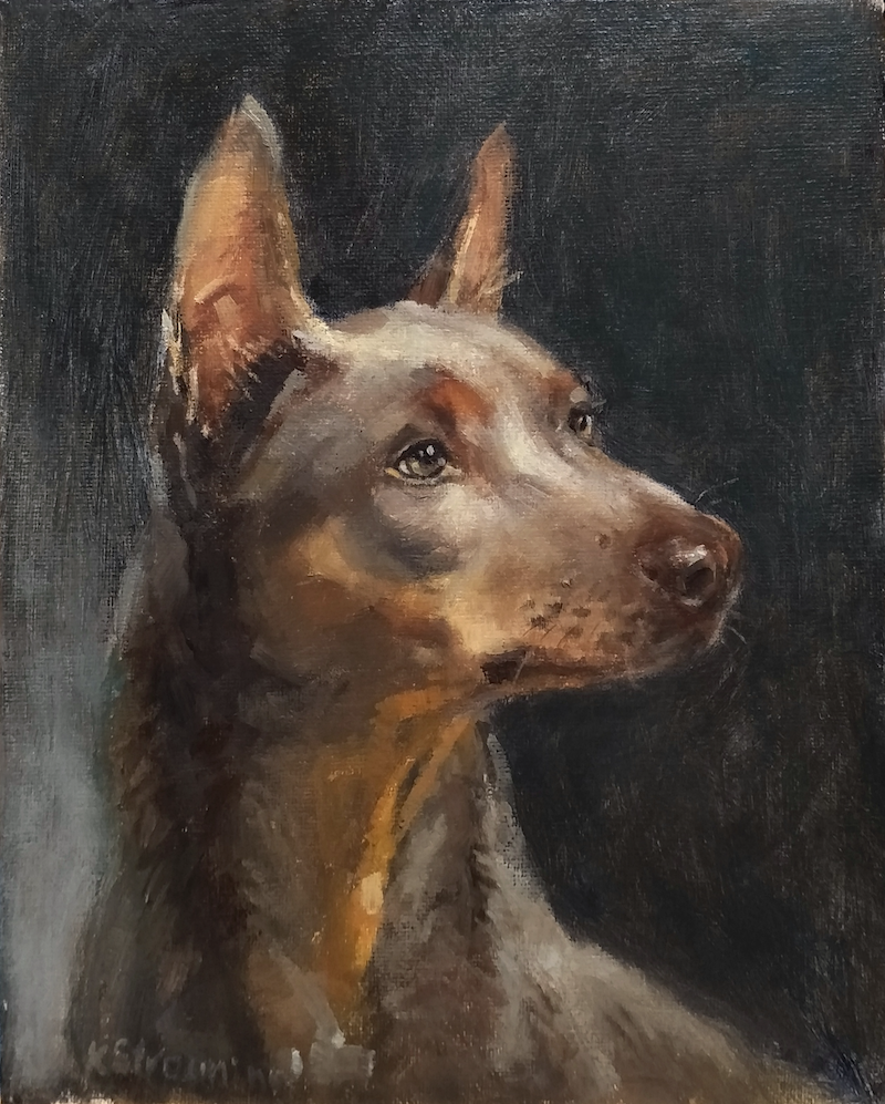 (CreativeWork) Red dog  by Katia Strounina. Oil Paint. Shop online at Bluethumb.