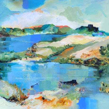 (CreativeWork) Quiet Waters by Linda Olstein. Acrylic Paint. Shop online at Bluethumb.