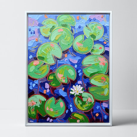 (CreativeWork) Tasman Lily Pond 33 - Framed by Joseph Villanueva. Acrylic Paint. Shop online at Bluethumb.