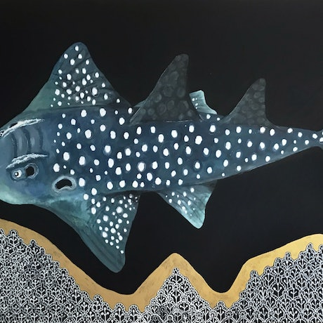 (CreativeWork) Shark Ray by Angelika Pacek. Acrylic Paint. Shop online at Bluethumb.