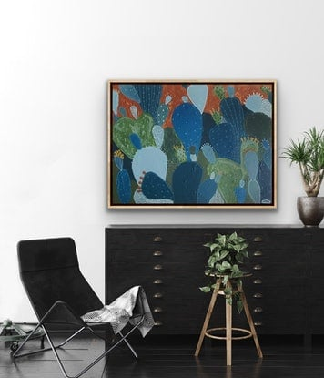 (CreativeWork) Cactus Siesta by Angelika Pacek. Acrylic Paint. Shop online at Bluethumb.