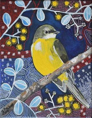 (CreativeWork) Eastern Yellow Robin by Naomi Malone. Acrylic Paint. Shop online at Bluethumb.