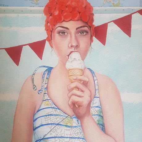 (CreativeWork) Ice-cream Anyone by Elise Judd. Mixed Media. Shop online at Bluethumb.