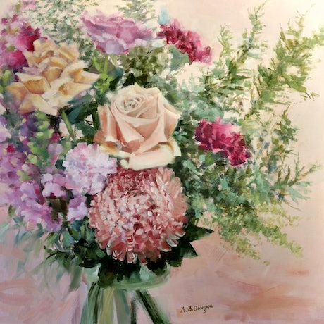 (CreativeWork) Roses and snapdragons by Andriane Georgiou. Oil Paint. Shop online at Bluethumb.