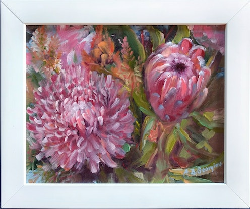 (CreativeWork) Shades of pink by Andriane Georgiou. Oil. Shop online at Bluethumb.