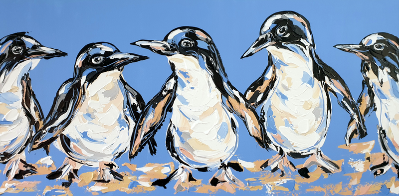 (CreativeWork) The Penguin Parade  by Lisa Fahey. Acrylic Paint. Shop online at Bluethumb.