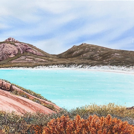 (CreativeWork) Thistle Cove by Tamika Hogan. Oil Paint. Shop online at Bluethumb.