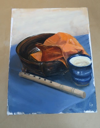 (CreativeWork) Still life with Bowl, Cup, Flute And Orange Hankie. by Nicholas Kerr. Oil Paint. Shop online at Bluethumb.