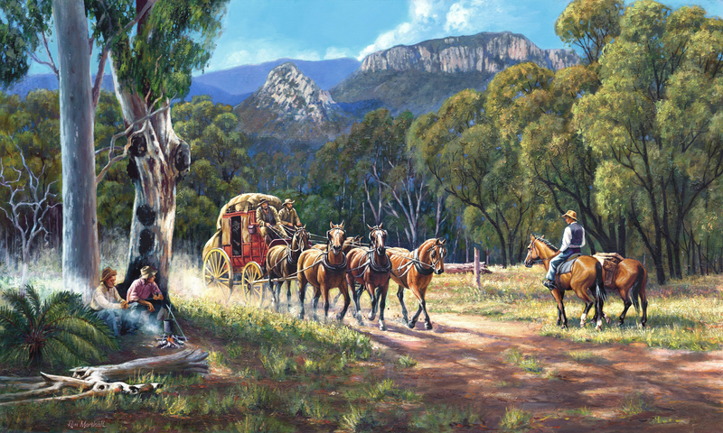 (CreativeWork) COBB & CO - ON THE ROAD TO THE DIGGINGS by Ron and Jennifer Marshall. Acrylic Paint. Shop online at Bluethumb.