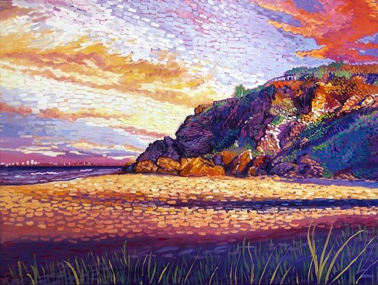 (CreativeWork) Miami Sunset by Michael Baker. Oil Paint. Shop online at Bluethumb.