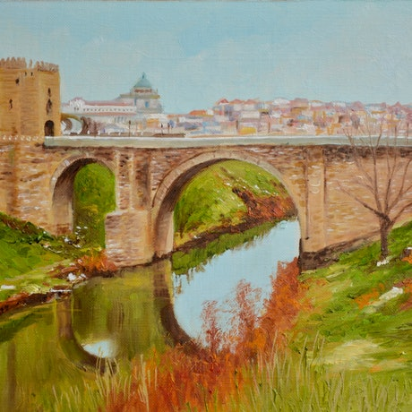 (CreativeWork) Puente de Alcantara Toledo Spain by Dai Wynn. Oil Paint. Shop online at Bluethumb.