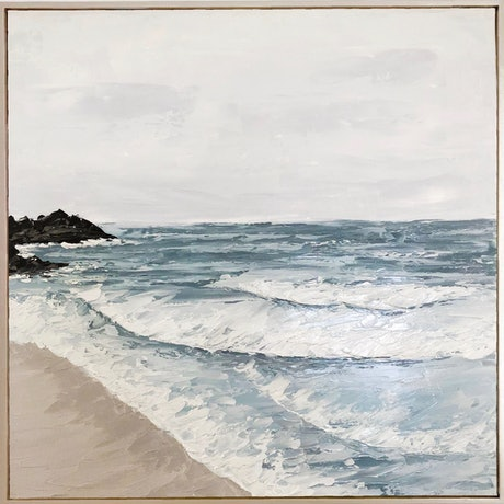 (CreativeWork) Moody Beach  by Ashley Bunting. Oil Paint. Shop online at Bluethumb.