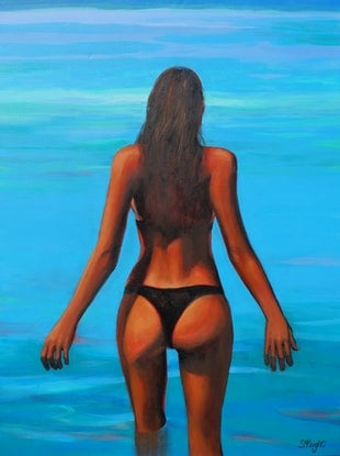(CreativeWork) Take the Plunge by Sandra Michele Knight. Acrylic Paint. Shop online at Bluethumb.
