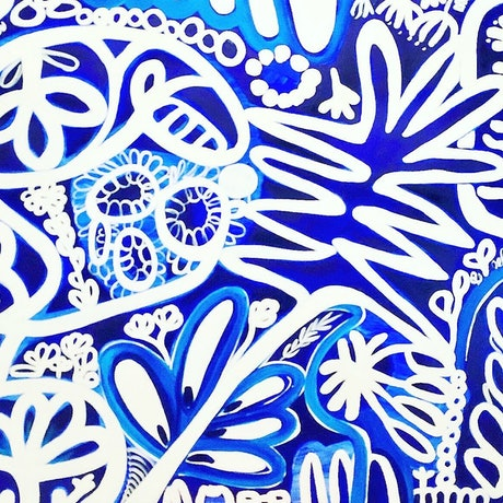 (CreativeWork) Blue and White Garden by Sarah Morrow. Acrylic Paint. Shop online at Bluethumb.