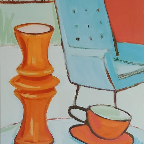 (CreativeWork) RETRO ROOM by Karen McPhee. Acrylic Paint. Shop online at Bluethumb.