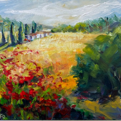 (CreativeWork) THE HILLS OF TUSCANY by Ivana Pinaffo. Acrylic Paint. Shop online at Bluethumb.
