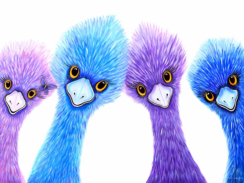 (CreativeWork) Quirky Emu Family by Linda Callaghan. Acrylic Paint. Shop online at Bluethumb.