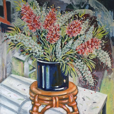 (CreativeWork) Grevilleas on Orange Stool by Karen Cipressi. Oil Paint. Shop online at Bluethumb.