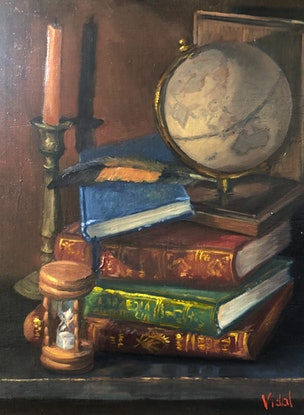 (CreativeWork) Globe, books and time - still life by Christopher Vidal. Oil. Shop online at Bluethumb.